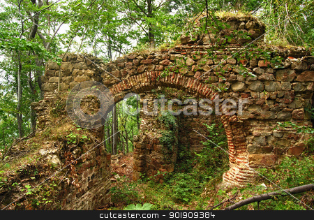 Ancient roman fortress gate ruin  stock photo, Ancient roman Balkan fortress arch gate, wall ruins in forest by Aleksandar Varbenov