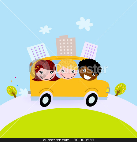 Cute kids in school bus on the hill stock vector clipart, Happy children on the way to school by BEEANDGLOW