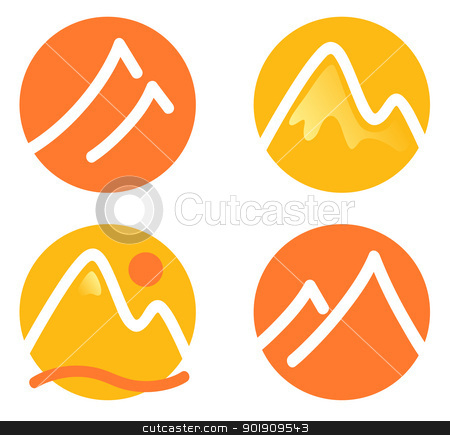 Mountain icons set isolated on white ( orange and yellow ) stock vector clipart, Hill in circles icons set. Vector by Jana Guothova