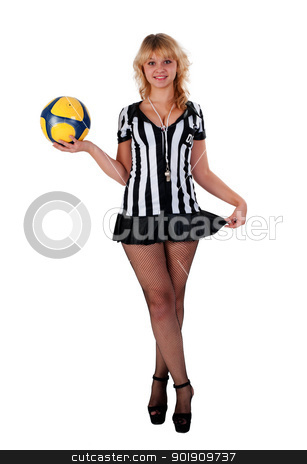 Sexy Soccer Referee stock photo, Beautiful Soccer Referee with ball. Isolated on white by Aikon