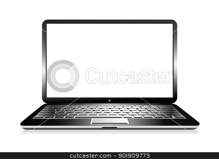 Laptop Computer stock vector clipart, Laptop with space for your message by Fenton