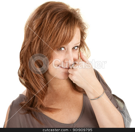 Shy Lady With Hand Near Mouth stock photo, Shy young woman with hand near mouth over white background by Scott Griessel