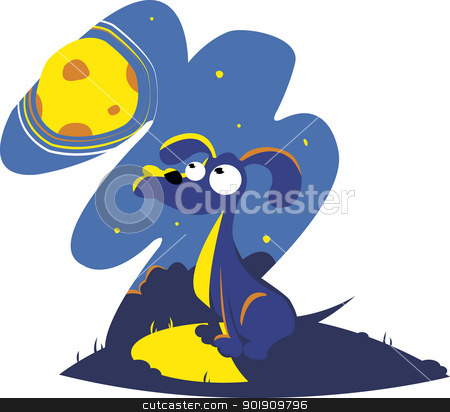 Dog Howling to the moon stock vector clipart, a cute dog howling to the moon by pcanzo