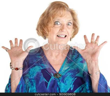 Frightened Senior Female stock photo, Frightened European senior female with hands up by Scott Griessel