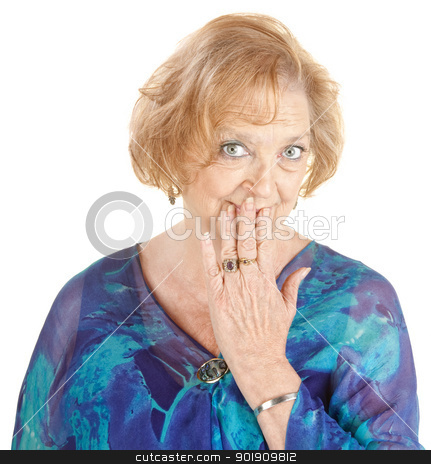 Blushing Grandmother stock photo, Blushing Caucasian grandmother with hand over mouth by Scott Griessel