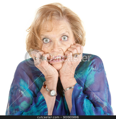 Intimidated Woman stock photo, Intimidated older female with wide eyes over white by Scott Griessel