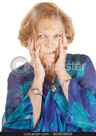 Lady Making Faces stock photo, Isolated senior age female making strange faces by Scott Griessel