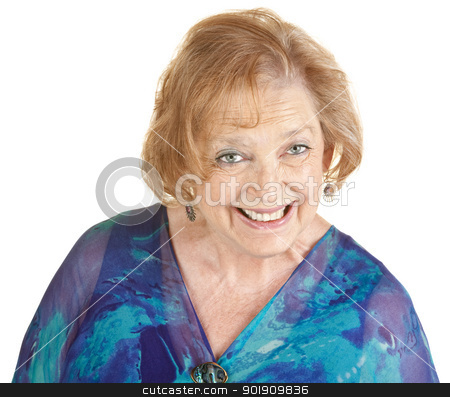 Woman in Blue Smiling stock photo, Single adorable mature woman in blue smiling by Scott Griessel