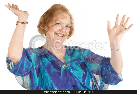 Laughing Woman With Hands Up stock photo, Easy going senior woman with hands up smiling by Scott Griessel