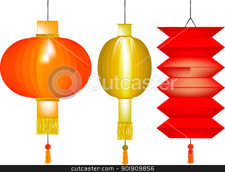 Chinese Lanterns stock vector clipart, A set of three Chinese paper lanterns. by Kotto