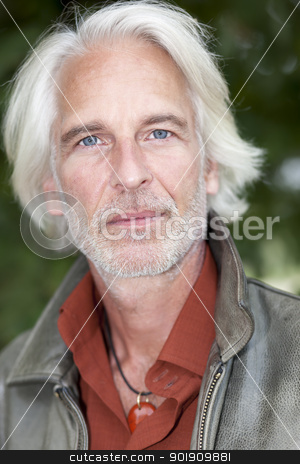 male portrait with white beard stock photo, An image of a handsome male portrait with white beard by Markus Gann