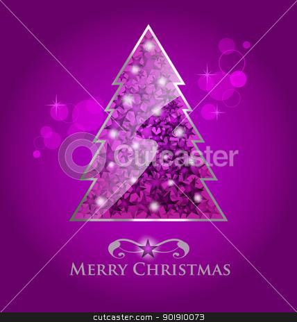 Vector glossy purple christmas tree stock vector clipart, Abstract vector glossy purple  christmas tree on purple background with bokeh element by Vladimir Repka