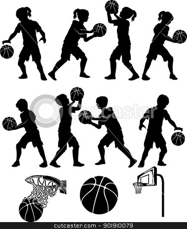 Basketball Silhouettes Kids Boys and Girls stock vector clipart, Basketball Players Silhouettes of Kids - Boys and Girls by chromaco