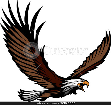 Eagle Mascot Flying with  Wings Spread stock vector clipart, Graphic Mascot Image of a Flying Eagle with Wings Vector Illustration by chromaco