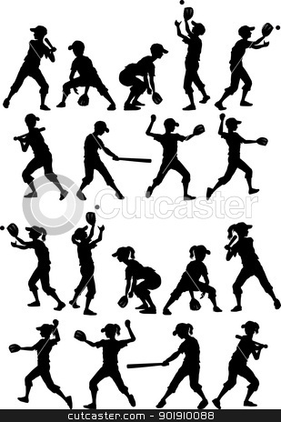 Baseball or Softball Silhouettes Kids Boys and Girls stock vector clipart, Baseball or Softball Players Silhouettes of Kids - Boys and Girls by chromaco