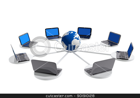 Laptops connected to a world globe stock photo, Laptops connected to a world globe by genialbaron