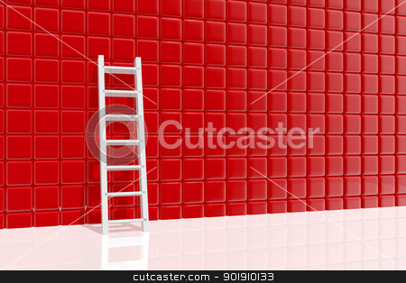 Ladder leaning against a wall stock photo, Ladder leaning against a wall by genialbaron