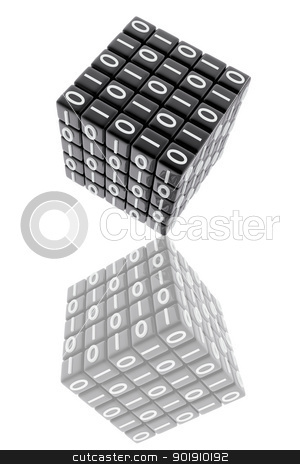 One cube with binary numbers stock photo, One cube with binary numbers by genialbaron