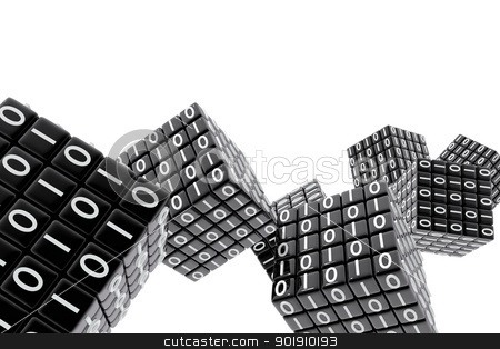 Cubes with binary numbers stock photo, Cubes with binary numbers by genialbaron