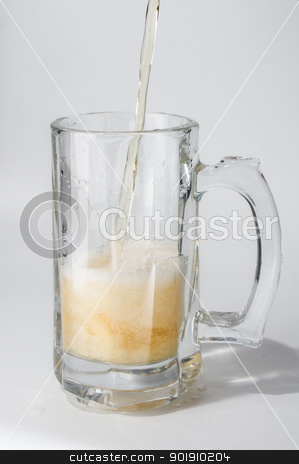 Mug, full of cold lager beer.  stock photo, Mug, full of cold lager beer. Isolated. by Evgeniy Ovchinnikov