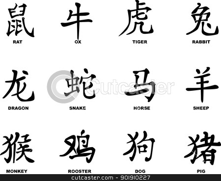 Chinese New Year stock vector clipart, The twelve logograms depicting the Chinese animal years. by Kotto
