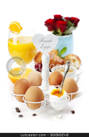 Fresh healthy breakfast stock photo, Breakfast with eggs  croissants and orange juice by klenova