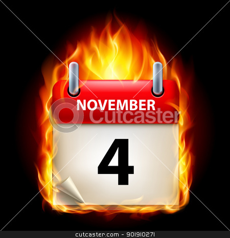 Burning calendar stock photo, Fourth November in Calendar. Burning Icon on black background by dvarg