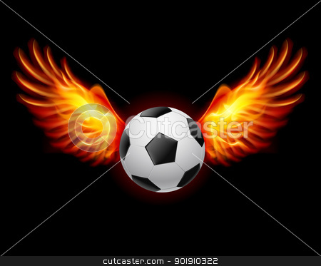 Football-Fiery wings stock photo, Raster version. Football-Fiery wings, a color illustration on a black background by dvarg