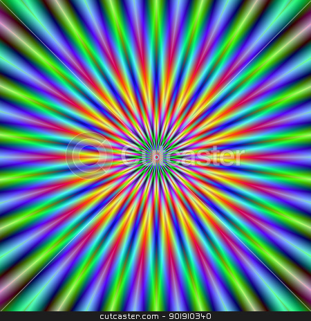 Flower Star  stock photo, Digital abstract image with a colorful star flower design in green, blue, pink and orange. by Colin Forrest