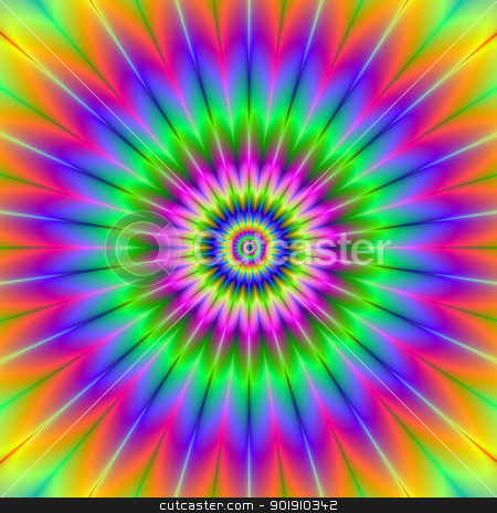 Rainbow Rosette stock photo, Digital abstract image with a circular rosette design in green, yellow, pink, blue, and red. by Colin Forrest
