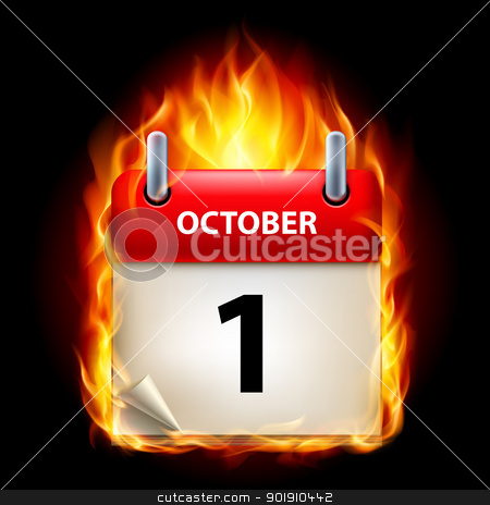 Burning calendar stock photo, First October in Calendar. Burning Icon on black background by dvarg