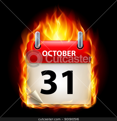 Burning calendar stock photo, Thirty-first October in Calendar. Burning Icon on black background by dvarg