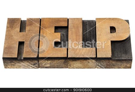 help word in wood type stock photo, help - isolated word in vintage leterpress wood type by Marek Uliasz