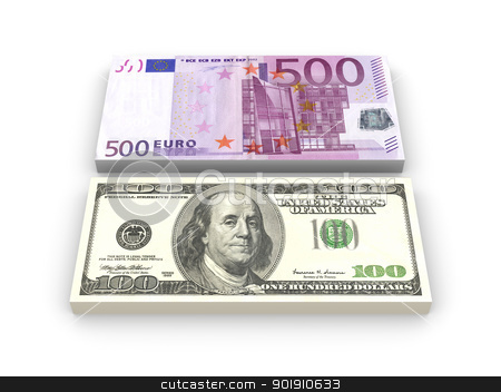 Dollar and Euro Notes stock photo, 3D rendered Illustration. 