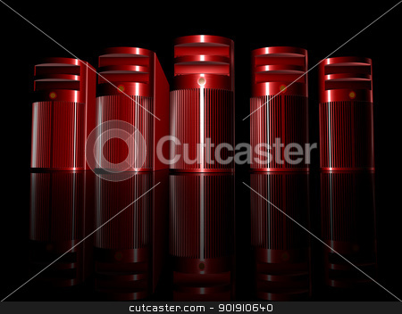 Evil Workstations stock photo, 3D rendered illustration. Rough brushed Aluminium Case.  by Michael Osterrieder