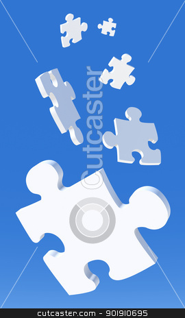 Falling Puzzle Pieces stock photo, 3D Illustration. Puzzle Pieces falling from the Sky.