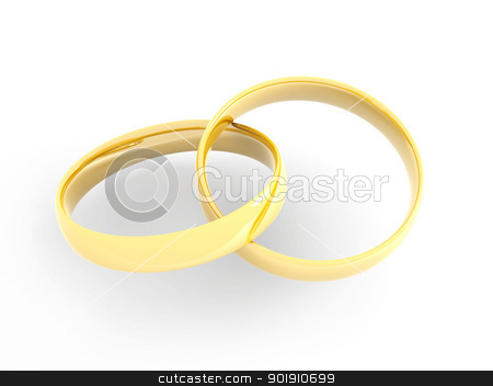 Golden Wedding Rings stock photo, A golden wedding Ring. 3D rendered Illustration. Isolated on white.  by Michael Osterrieder