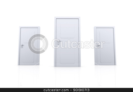 Doors stock photo, 3D rendered Illustration. Isolated on white. by Michael Osterrieder