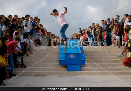 National Etnies Skate Circuit 2007/08 stock photo, POVOA DE VARZIM, PORTUGAL - JULY 15: Joao Dantas during the National Etnies Skate Circuit on July 15, 2007 in Povoa de Varzim, Portugal. by Homydesign