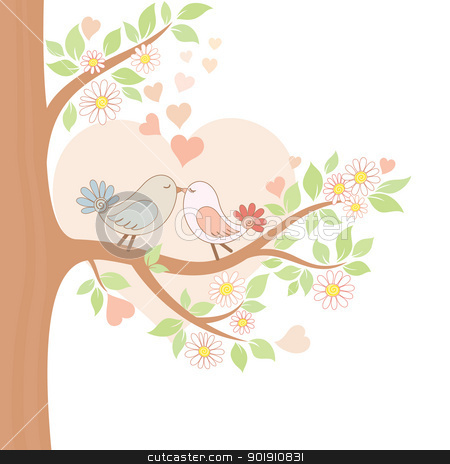 Two kissing birds on the tree stock vector clipart, Decorative color vector illustration of two kissing birds by Allaya