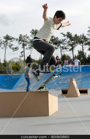 Andre Godinho stock photo, ILHAVO, PORTUGAL - MARCH 16: Andre Godinho on a Flip 360 during the Skate Open Ilhavo on March 16, 2008 in Ilhavo, Portugal. by Homydesign