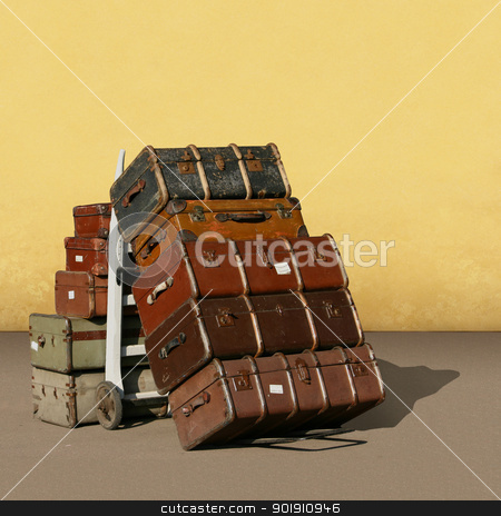 Vintage Suitcases  stock photo, A Pile of Old Vintage Suitcases - Luggage  by Binkski Art