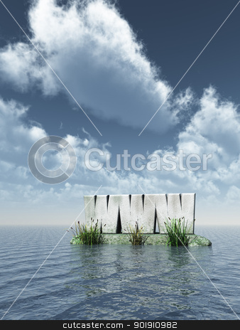 www monument stock photo, www monument at the ocean - 3d illustration by J?