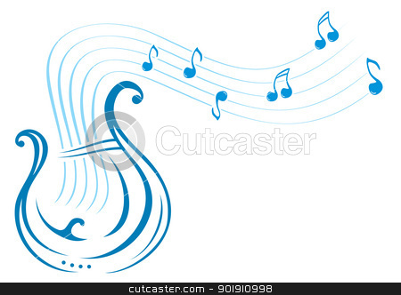 Lyre music stock vector clipart, Design with music notes and lyre on illustration by oxygen64