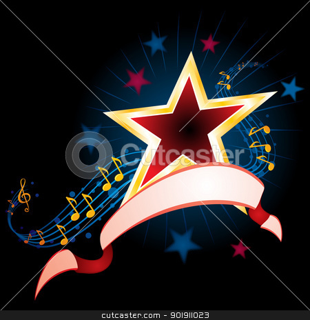 Music background stock vector clipart, Star with music notes and ribbon on black by oxygen64