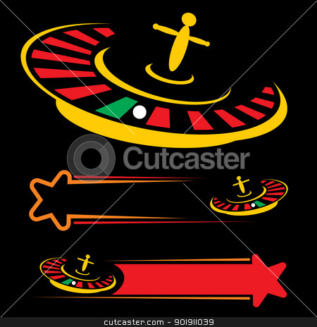 Casino symbol stock vector clipart, Set of roulette symbols isolated on black by Oxygen64