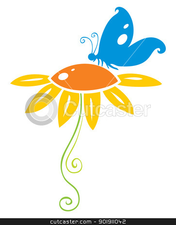 Butterfly on flower stock vector clipart, Decorative symbol of blue butterfly on orange flower by oxygen64