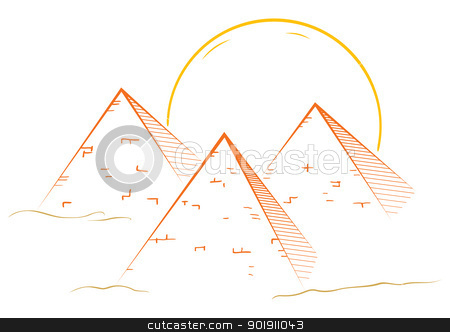 Three pyramids stock vector clipart, Illustration of famous great pyramids in egypt by Oxygen64