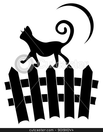Cat on fence stock vector clipart, Black cat on fence and moon in background by oxygen64