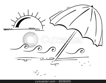 On the bitch stock vector clipart, Illustration of umbrella on bitch with sun in background by Oxygen64
